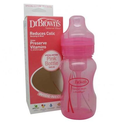 Dr Browns Biberon Boca Ancha Rosa 240 ml