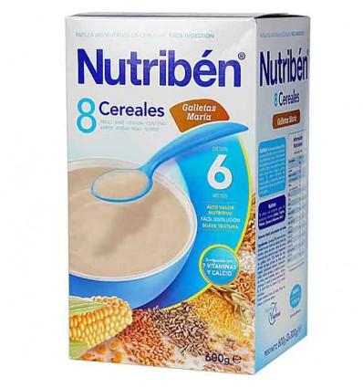 nutriben 8 cereales galleta maria 600 gramos