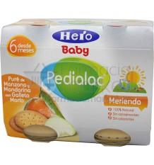 Pedialac Hero Potito Merienda Pure de manzana mandarina y galleta maría 2x200g