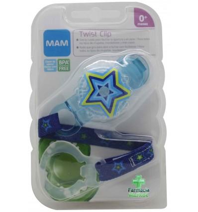 Mam baby cadena twist clip azul estrella