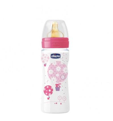 Chicco Biberon Fisiologico Latex Papilla 330 ml rosa