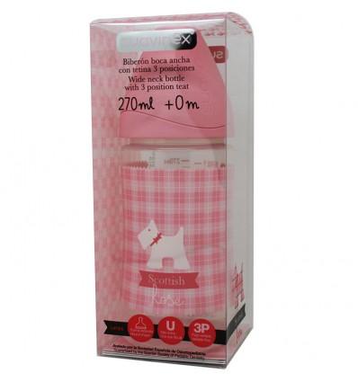 Suavinex Biberon Latex Rosa 3 Posiciones 270 ml