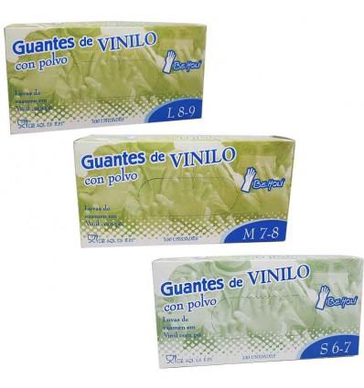 Beholi Guantes Vinilo con Polvo Caja 100 Unidades