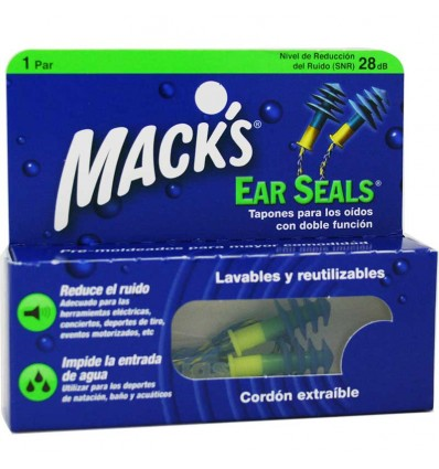 Macks Tapones Ear Seals Goma Cordon 1 par