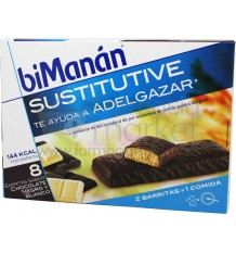 Bimanan Sustitutive barritas chocolate negro y blanco 6 unidades