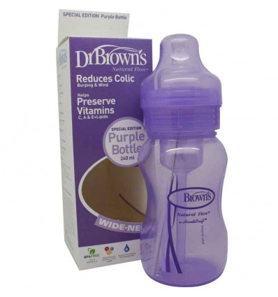 Dr Browns Biberon Boca Ancha Morado 240 ml