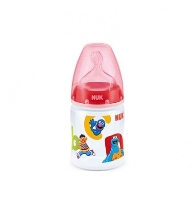 Nuk Biberon Latex Barrio Sesamo 1M 150 ml rojo