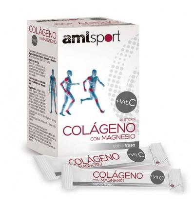 Amlsport Colageno con Magnesio Vitamina C Fresa 20 Sticks