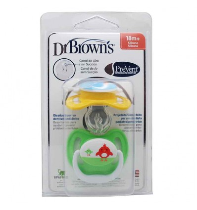 Dr Browns Chupete Prevent 18 meses amarillo