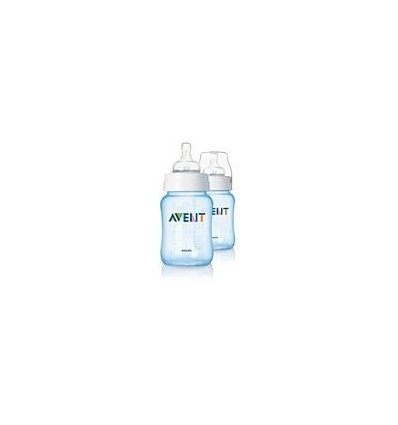 Avent Klassik-Flasche 260 ml + 260 ml Pack Duplo Blau