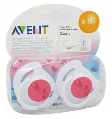 Avent Pacifiers Classic 6-18 months pink