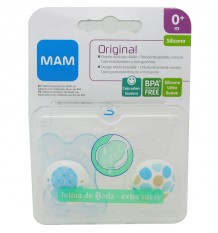 Mam Sucette Bébé Originale Silicone 0-6 mois cercles bleus
