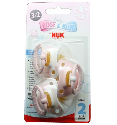 Nuk Chupete Latex Rose T2 6-18 3x2 unidades