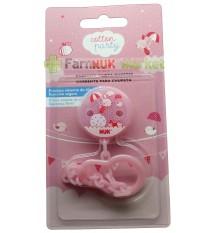 Nuk Chain Pacifier Cotton party pink