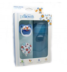 Dr Browns Bottle Wide Mouth 240 ml Blue Pack Pacifier Clip