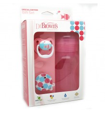 Dr Browns Bottle Wide Mouth 240 ml Pink Pack Pacifier Clip