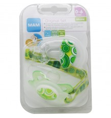Mam Baby Pack Original Pacifier Clip Green