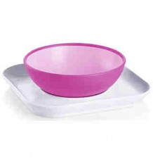 mam baby plate and bowl pink