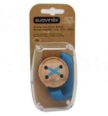 Suavinex Brooch with Ribbon blue Button