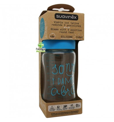 Suavinex Biberon Cristal Silicona 3P 240 ml azul