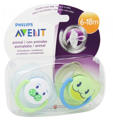 Avent Chupetes Animales 6- 18 meses azul