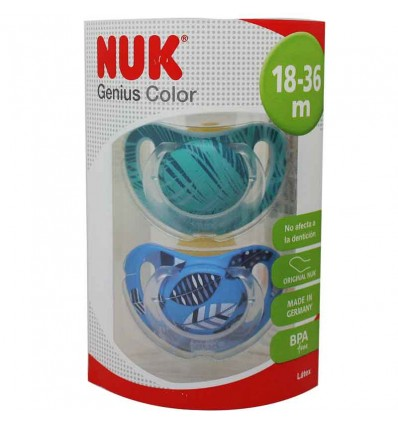 Nuk Chupete Genius Latex 18-36 m 2 unidades azul