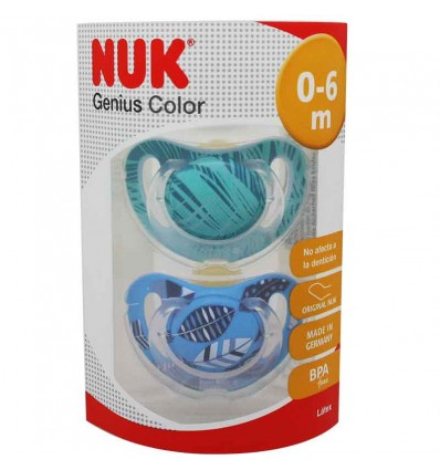 Nuk Chupete Genius Latex 0-6 m 2 unidades azul