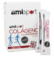 Amlsport de Collagène avec du Magnésium, de la Vitamine C à la Fraise 20 Bâtons