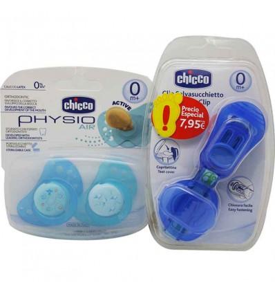 Chicco Sucette Physio Air Latex 0 mois Cadeau de Chaîne bleu