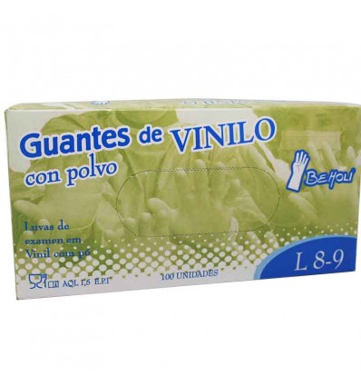 Beholi Guantes Vinilo con Polvo Caja 100 Unidades Grande