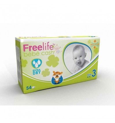Freelife Bebe Cash Fraldas Tamanho 3 4-9 Kg 54 unidades