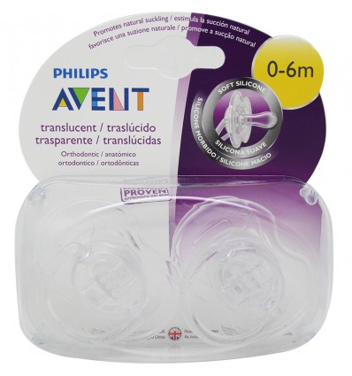 Avent Translucent Pacifiers 0-6 Monate-transparent