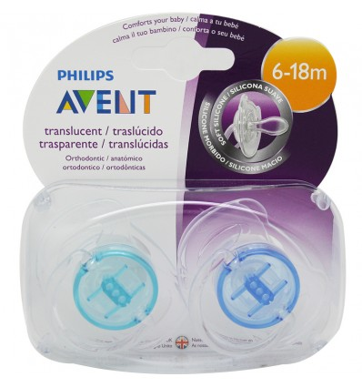 Avent Chupetes Translucidos 6-18 meses azul