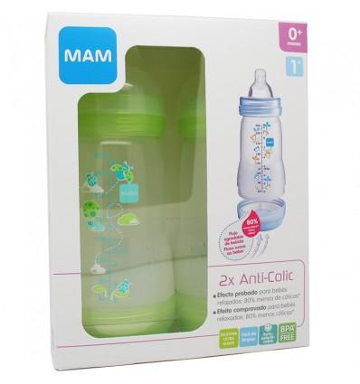 Mam Baby Pack Duplo Flasche Anticolico 260 ml Grün