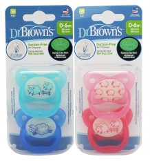 Dr Browns Pacifier Prevent Night 0-6 months 2 units