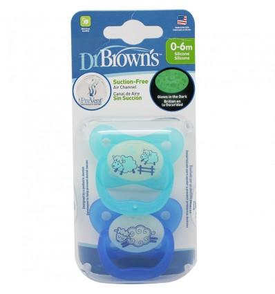 Dr Browns Chupete Prevent Noche 0-6 meses 2 unidades azul