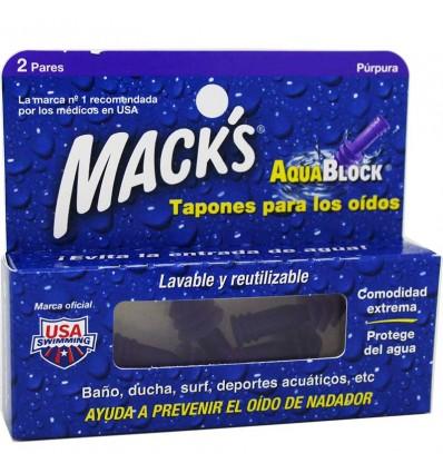 Macks Bouchons d'oreilles Aquablock 2 paires
