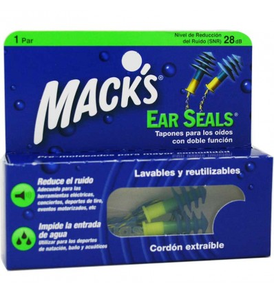 Macks Bouchons d'Oreille Joints en Caoutchouc Cordon 1 paire