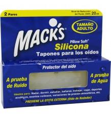 Macks Bouchons D'Oreilles En Silicone Adulte 2 Paires