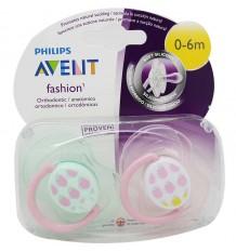 Chupetas Avent Fashion 0-6 meses rosa