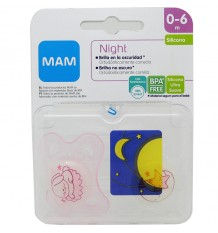 Mam Baby Schnuller Night Silikon 0-6 Monate rosa Kaninchen