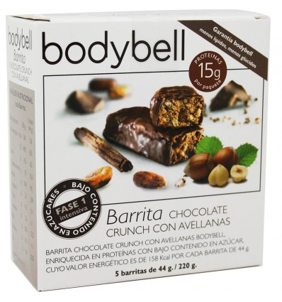 Bodybell Barritas Chocolate Avellana 5 Unidades