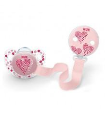 Chupeta Nuk em Silicone Com Fita 18-36 meses rosa