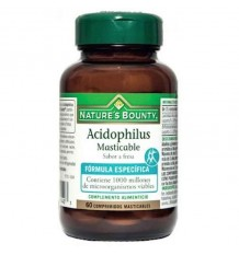 Nature's Bounty Acidophilus Masticable Fresa 60 Comprimidos