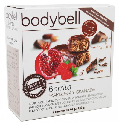 Bodybell Barrita Frambuesa Granada 5 Unidades 44 g