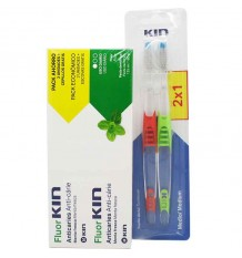 Fluorkin Anticaries Zahnpasta Duplo 250 ml Geschenk 2 Pinsel Media