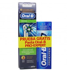 Recambios Oral B CrossAction 3 Unidades Regalo Pasta 50 ml
