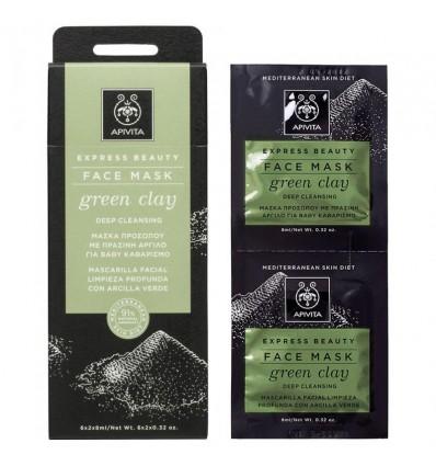 Apivita Express Facial Mask Deep Cleansing Green Clay 2x8ml