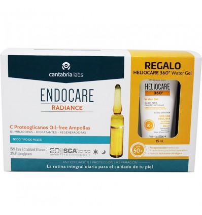 Endocare Radiance C Protéoglycanes Huile Gratuit de 30 Ampoules + Heliocare de l'Eau gel 15 ml