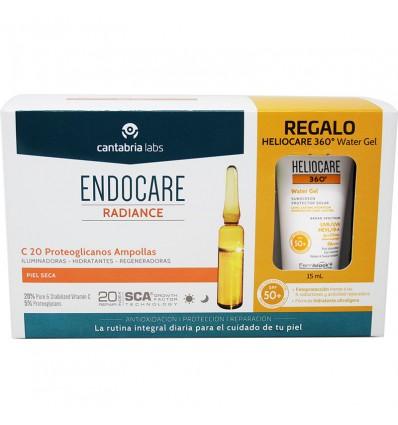 Endocare Radiance C 20 Protéoglycanes 30 Ampoules + Heliocare de l'Eau gel 15 ml
